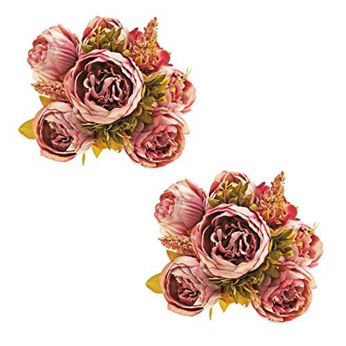 Ezflowery 1//2x Artificial Peony Silk Flowers Arrangement Bouquet for Wedding