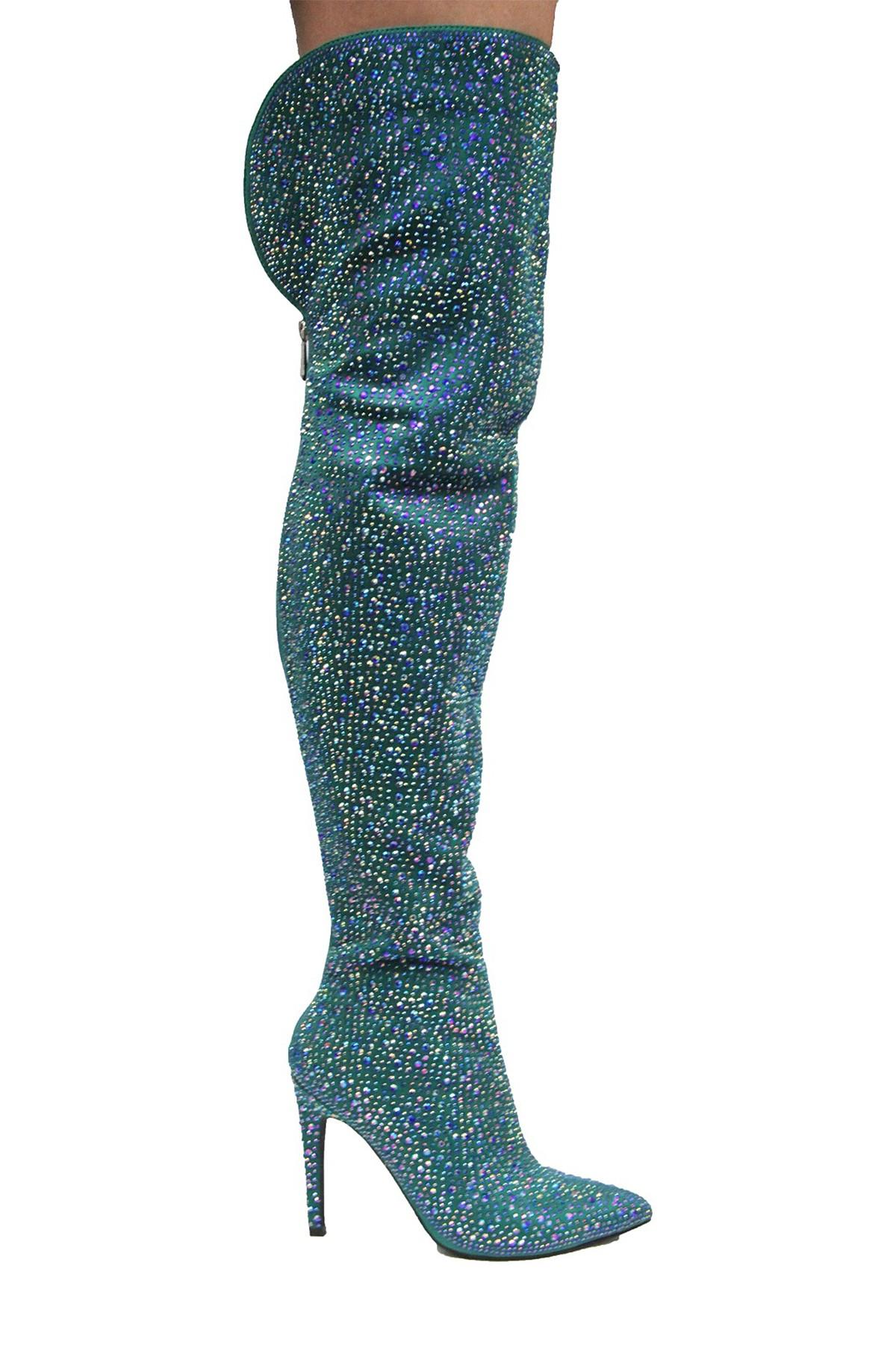 Cape Thigh Robbin Mini Mermaid Blue All Around Crystals Thigh Cape High Stiletto Tall Boot dc8934