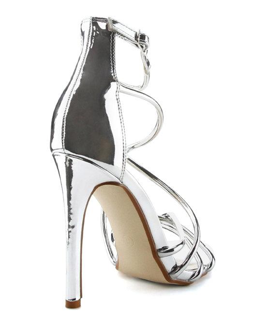 Cape robbin alza-35 Silver Strappy Open Toe Single Sole Sandals Stilleto Pumps