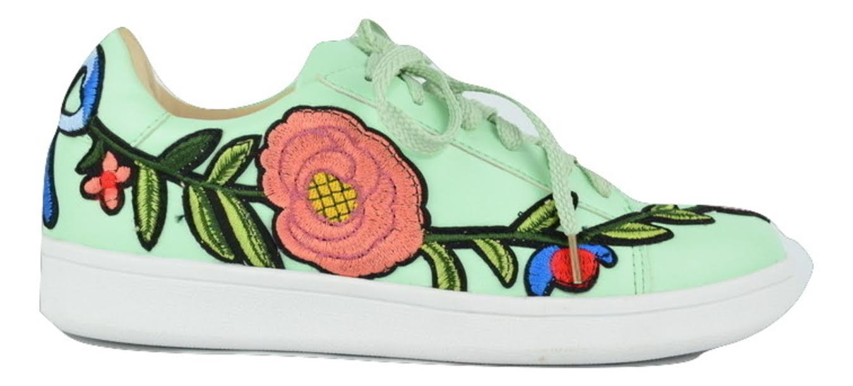 Chase & Chloe CELINE-1 Lace Up Patch Floral Detail Designer Sneaker Mint Green