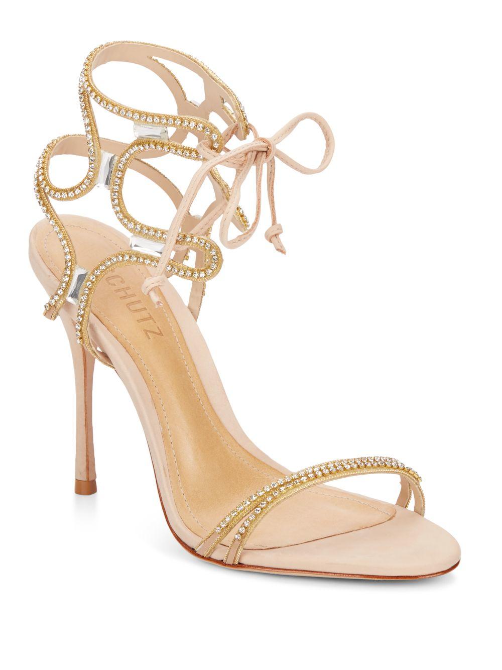 Schutz Cristen Tanino Metallic Embellished Crystal Single Sole Stiletto Sandals