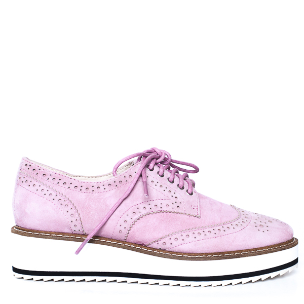 Shellys London Emma Pink Suede White Bottom Low