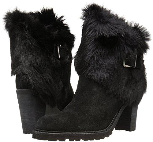 Schutz Hollie Lug Sole Black Heel Suede Rabbit Fur Stacked Heel Black Ankle Bootie c3d79e