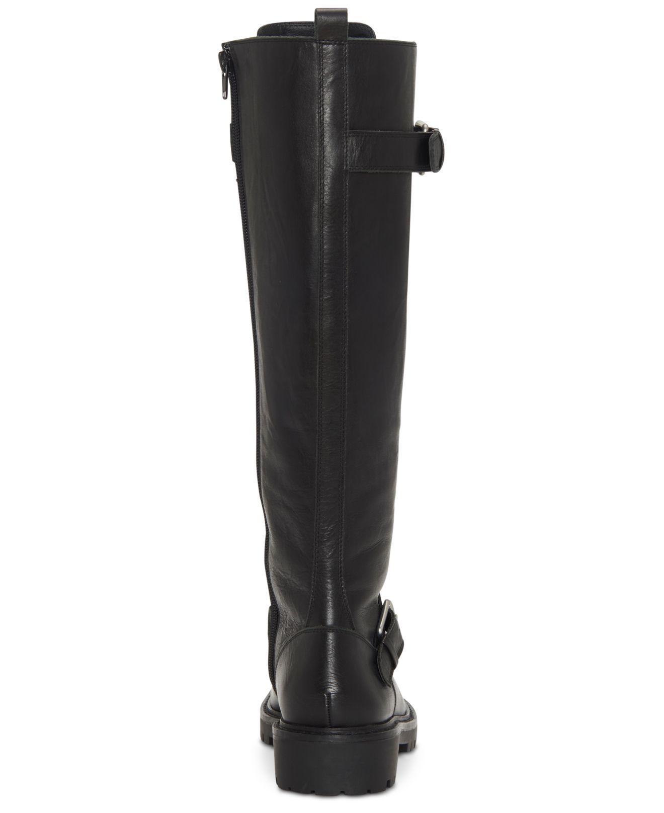 Lucky Brand Inniko Black Leather Knee High Combat Lace Up Lug Sole Moto Boots