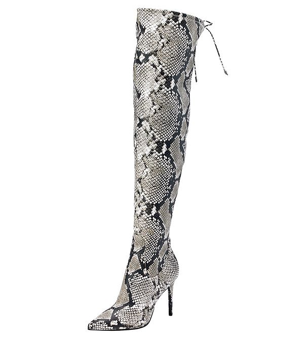 Jessica Simpson Londy Thigh Natural Snake Print Pointed Toe Stiletto Thigh Londy High Boot d35eb1