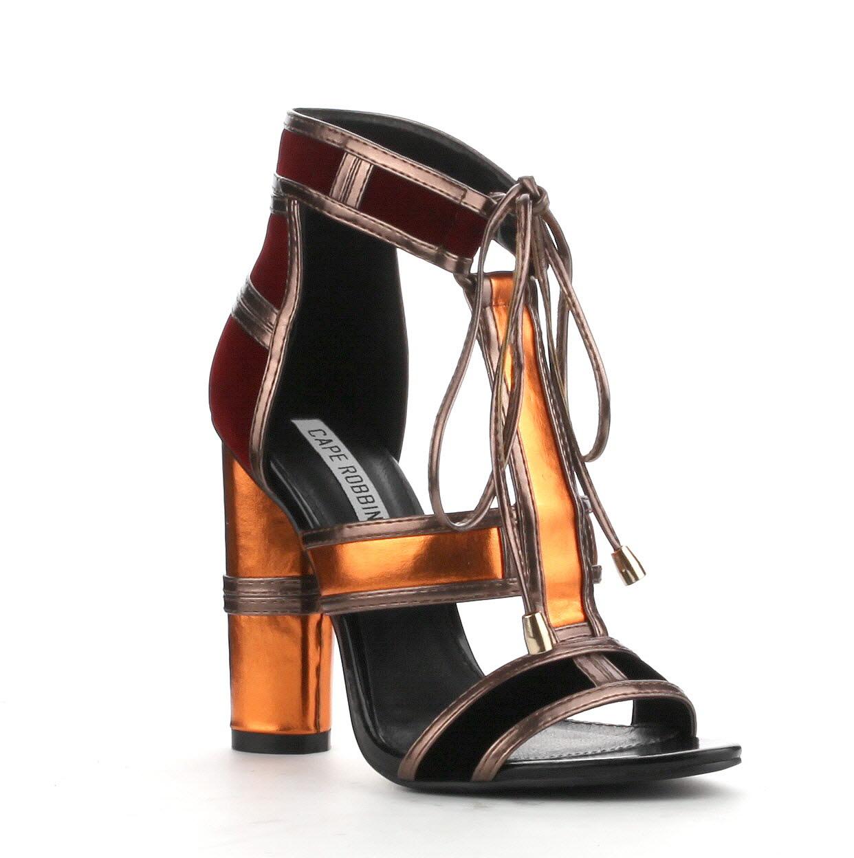 Black sandals 2 inch heel - Cape Robbin Maura 2 Orange Multi Lace Up