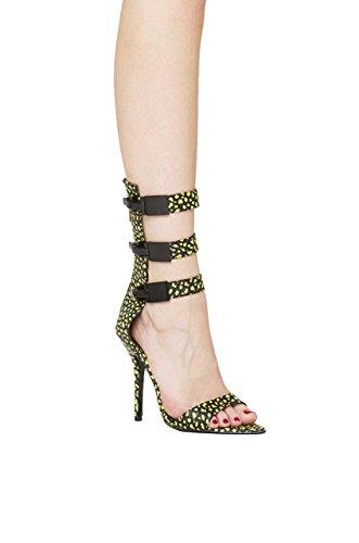 Lust For Life Triple Buckle Stilettos Super Lemon Ankle Strap Open Pointed Toe