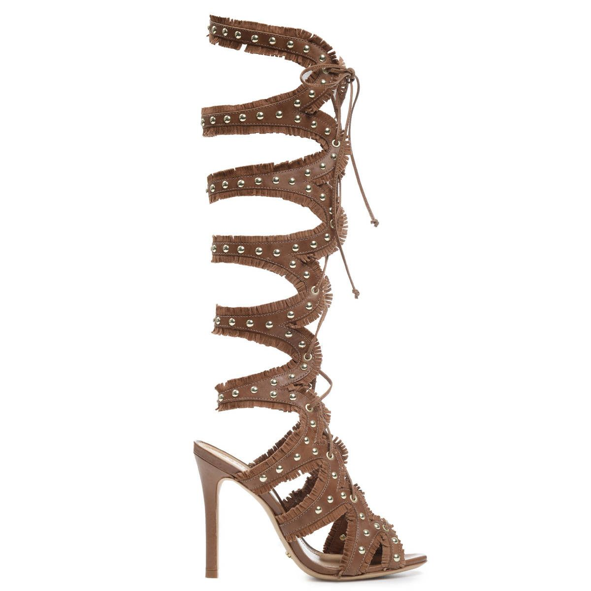Schutz Nini Tan Cut-Out Stiletto Knee-High Lace-Up Gold Studded Fringe Stiletto Cut-Out Sandals 9e8bcd