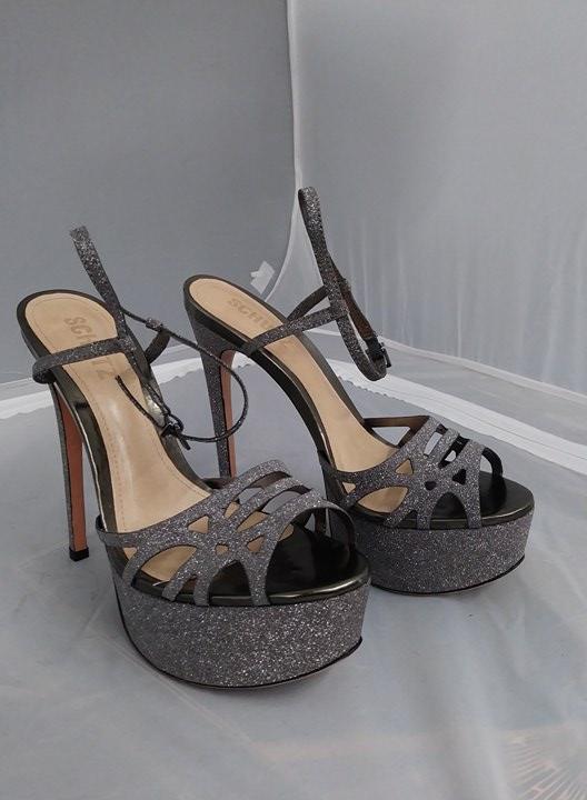 Schutz Tamare Platform Aco Pewter Glitter Caged Super High Platform Tamare Stiletto Sandal Heels 5838dd