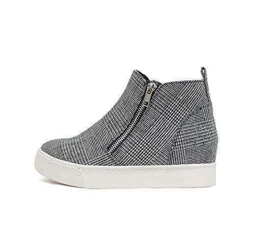 Soda Taylor Noir Plaid SUEDE Hidden Fashion Wedge Sneaker Chaussures Côté Fermeture Éclair