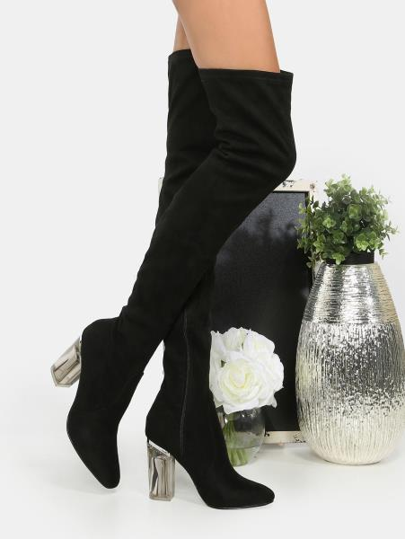 Cape Robbin Fay-2 Black Stretch Suede Over The Knee Glass Heel Thigh High Boots