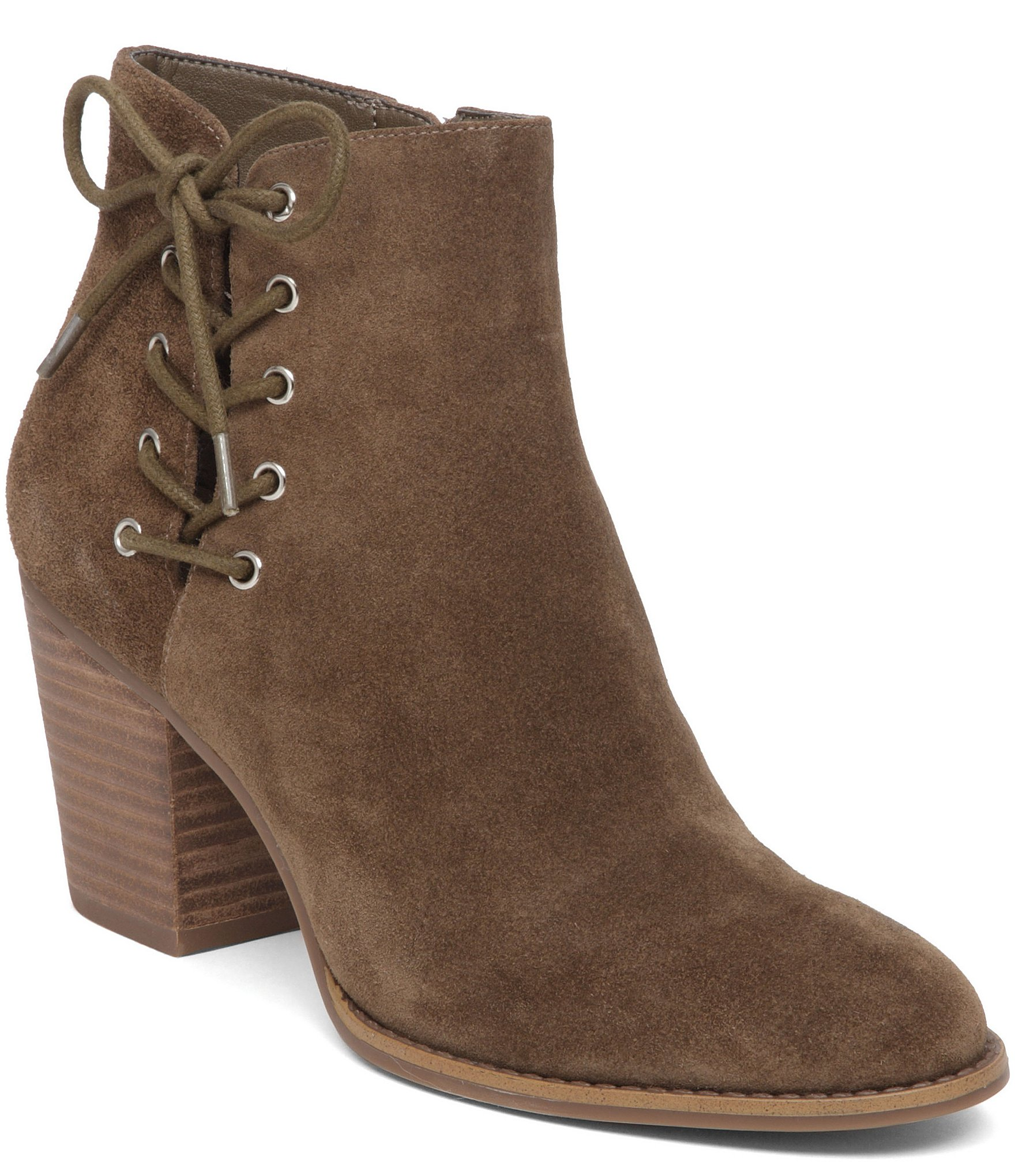 JESSICA SIMPSON Yesha Corset LaceUp Side Cut-out Stackaed Heel almond-toe Bootie