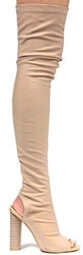 Cape-Robbin-Connie-11-Stretchy-Over-Knee-Thigh-High-Block-Heel-Pull-On-Boot thumbnail 12