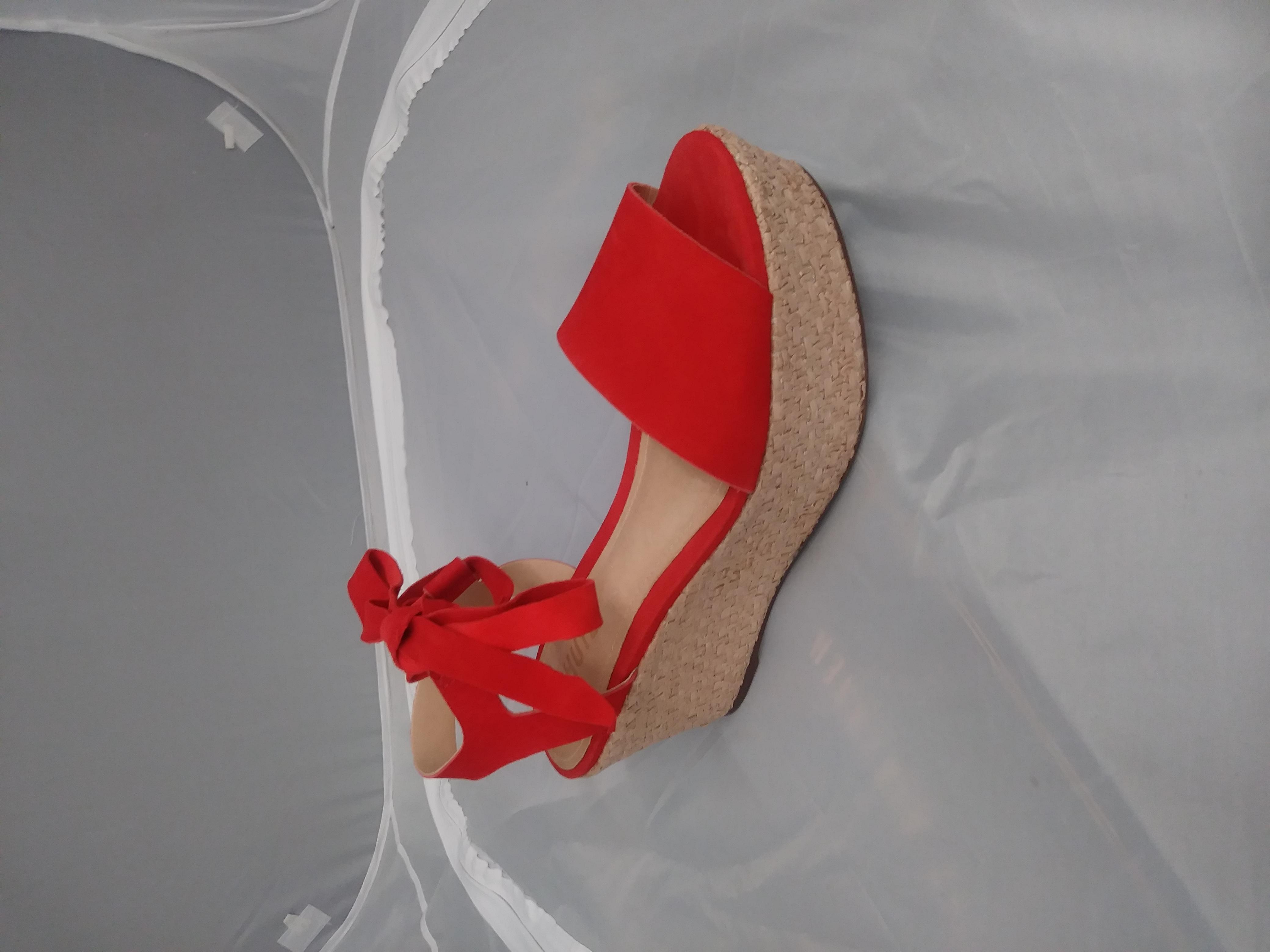 Schutz Zahara Orange Woven Wedge Platform Ankle Tie Up Flatform Summer Sandales