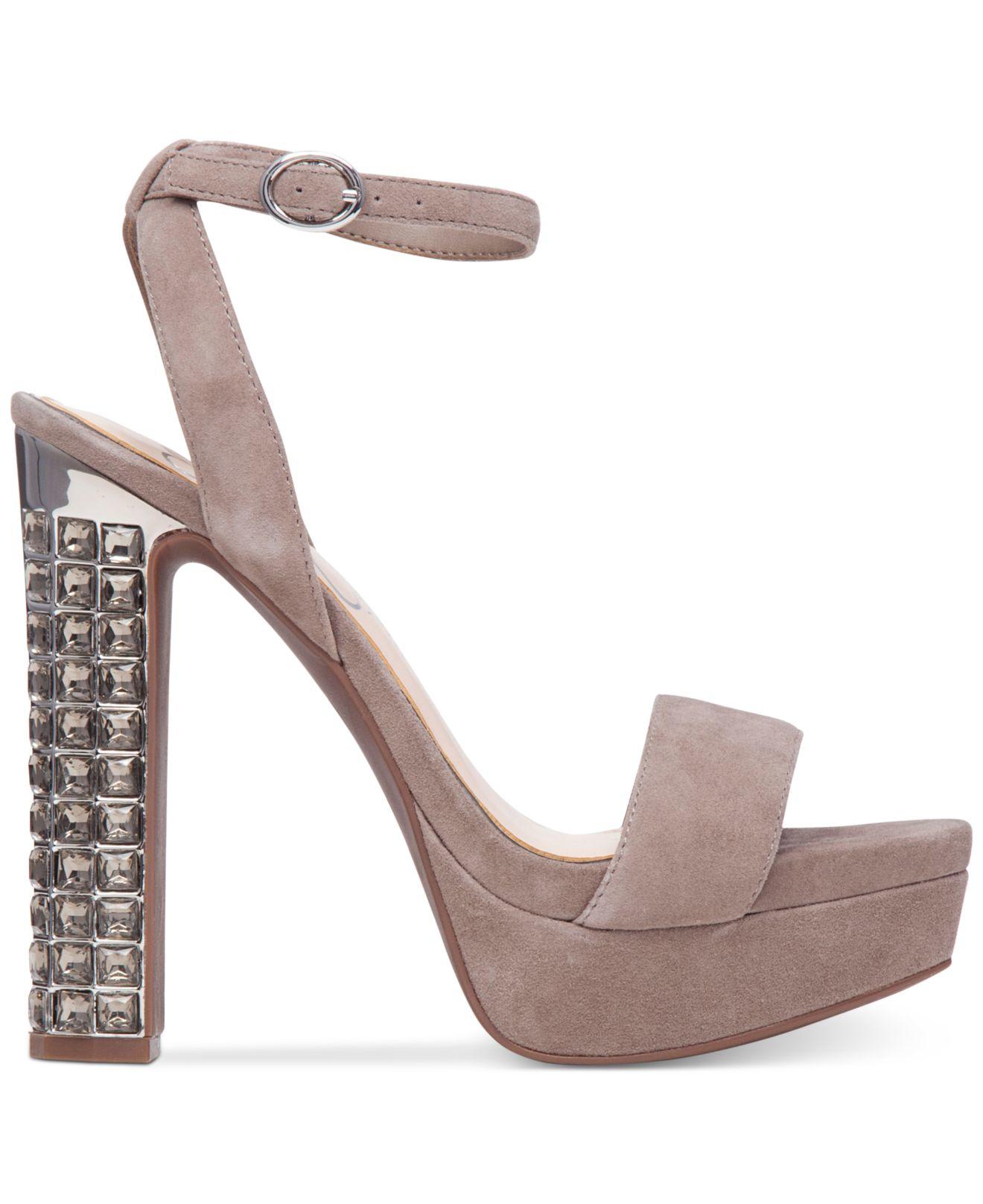 Jessica Simpson Banda Taupe Suede Embellished High Heel