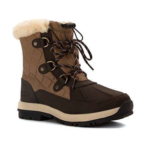 Bearpaw Bethany Sheepskin Waterproof Lace 6 In Snow Boot Chocolate/Khaki Lace Waterproof up d27d30