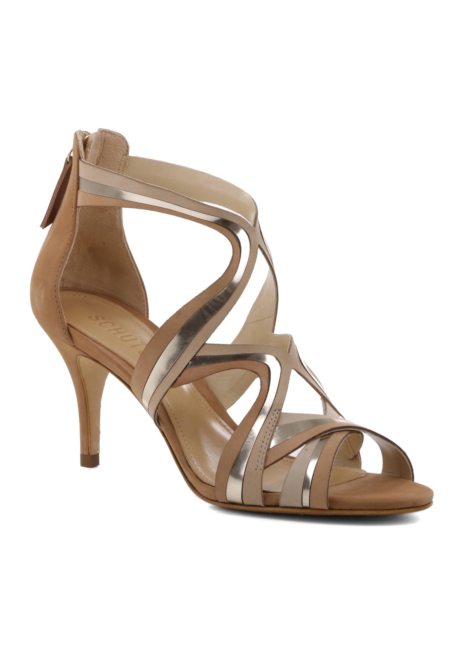 Schutz Cayenne Gladiator Zipper Peep Toe Slim Heel Desert Desert Desert Metallic Lined Sandal 1439d9