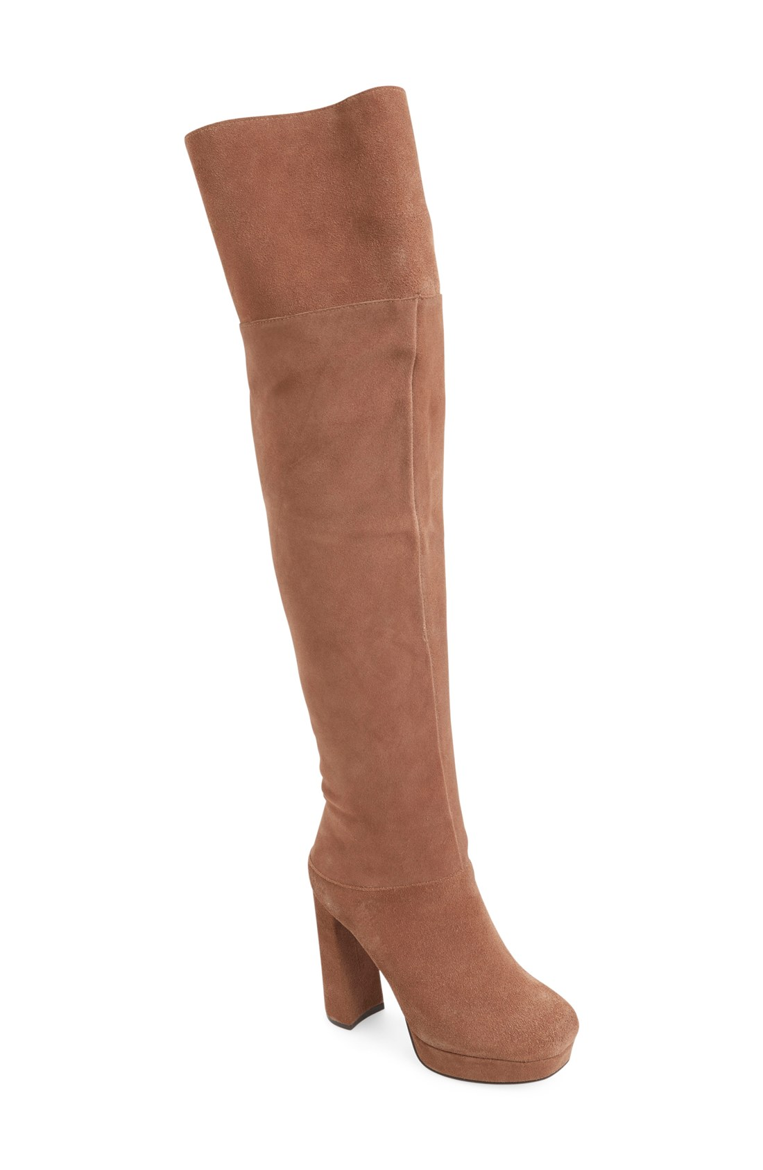 Jeffrey Campbell Knee Destino Taupe Suede Over Knee Campbell Platform Thick Heel Retro Boots 2bbaa0