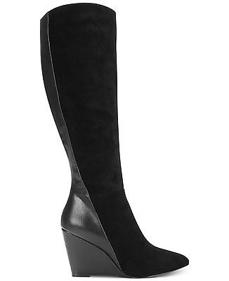 CHARLES LEATHER DAVID EASTON BLACK LEATHER CHARLES SUEDE POINTED TOE WEDGE PLATFORM SLIM Stiefel c0d935