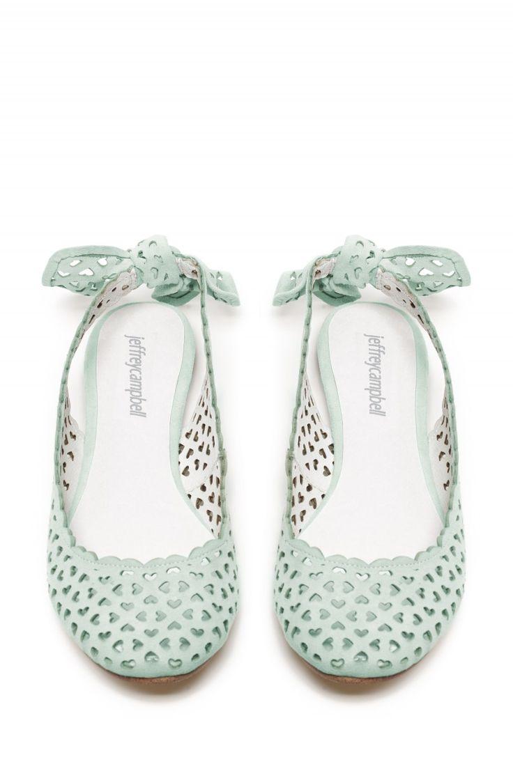 Jeffrey Flats Campbell Fiore Mint Slingback Ballet Flats Jeffrey Heart Perforated Suede Schuhes 65e5d5