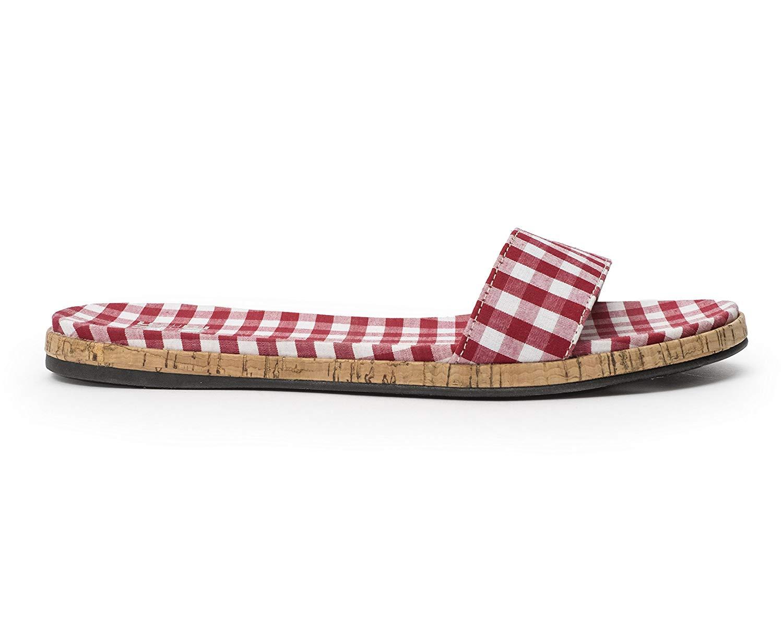 Jane and the Shoe Jill Thin Band Slide Sandal Red Gingham Plaid Flat Mule
