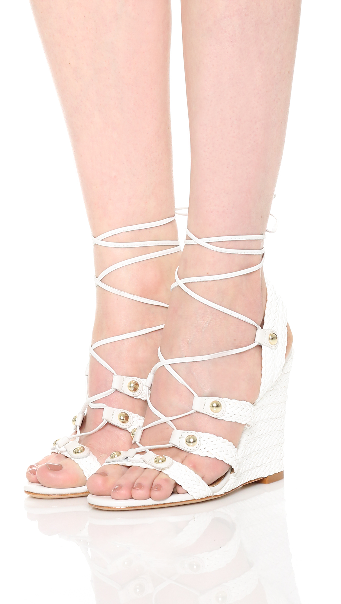 Schutz Jayne Pearl White Woven Leather Wedge Heel Lace Up