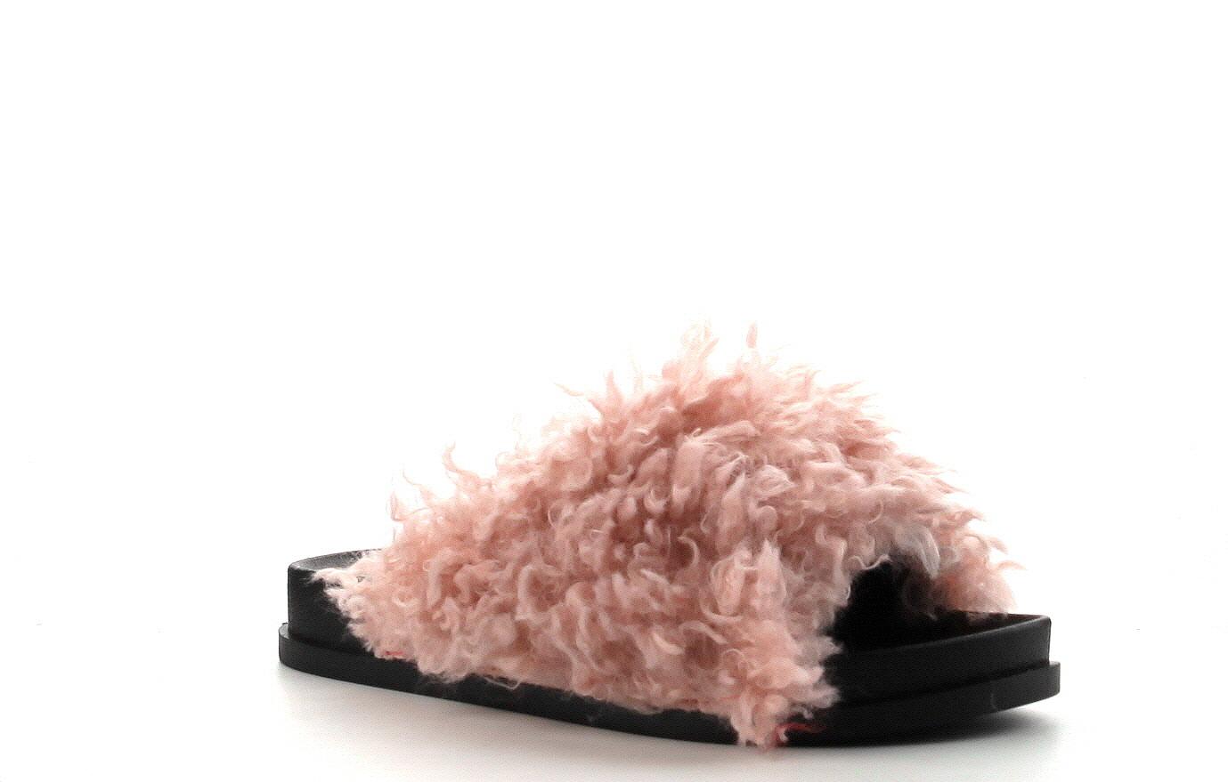 CAPE ROBBIN MOIRA-34 Flip Flop Sheep Fur Flats Sandals Shoes Slippers Mule WHITE
