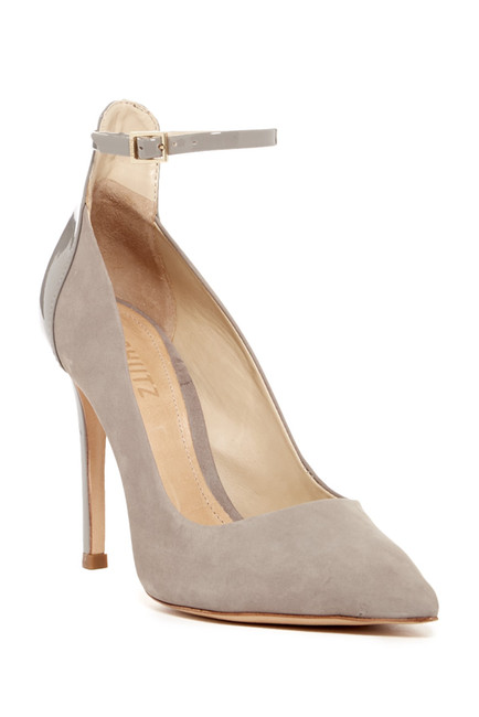 Schutz Mosty Mouse Gray Ankle Strap High Heel Single Sole Suede Pointed Pump