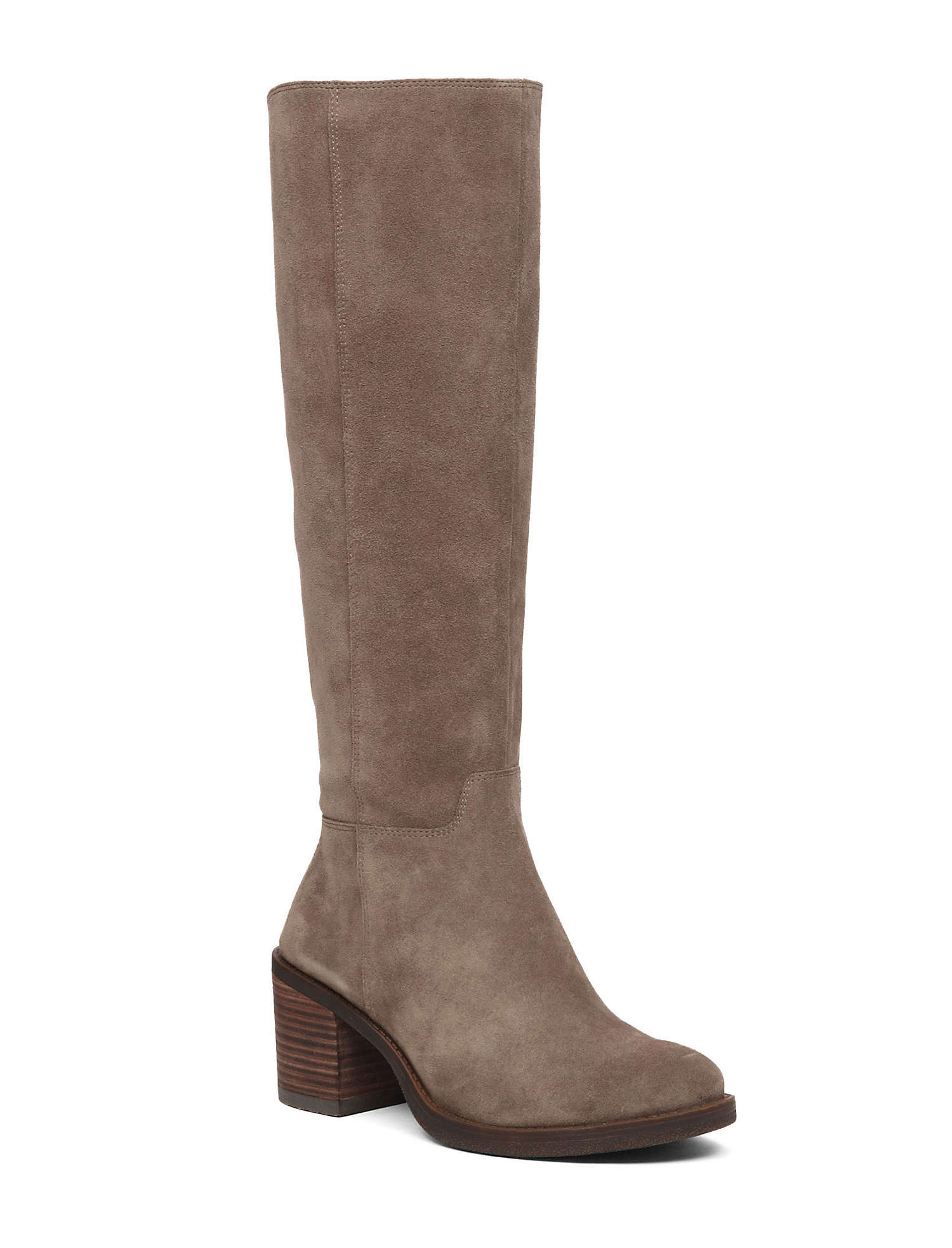 LUCKY BRAND RITTEN BRINDLE TAUPE HEEL SUEDE KNEE HIGH CHUNKY HEEL TAUPE RIDING WESTERN BOOT 21a197