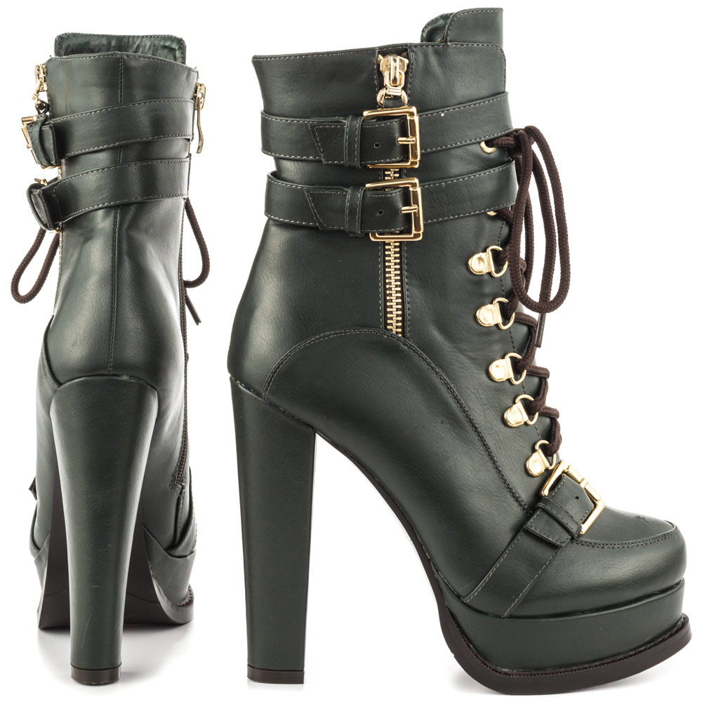 luichiny chaser army leather lace up high heel