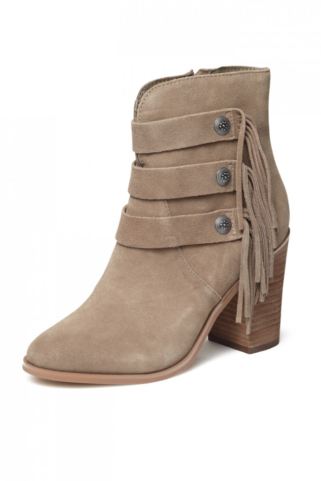 Yellow Box Upon Taupe Suede Stacked Heel Trendy Stud Detailing Fringe Ankle Boot