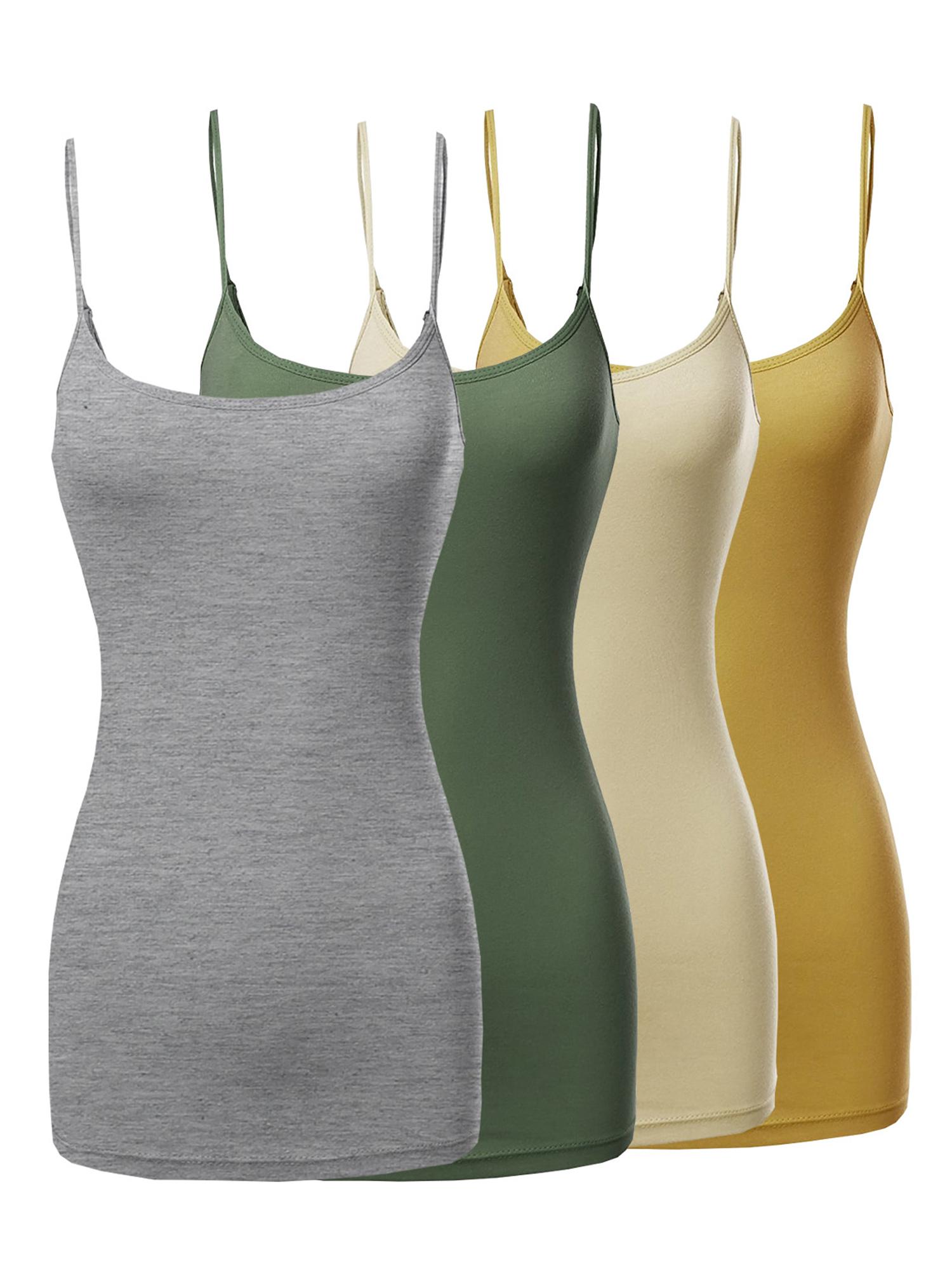 Women-amp-Juniors-Basic-Solid-Long-Length-Adjustable-Spaghetti-Strap-Tank-Top
