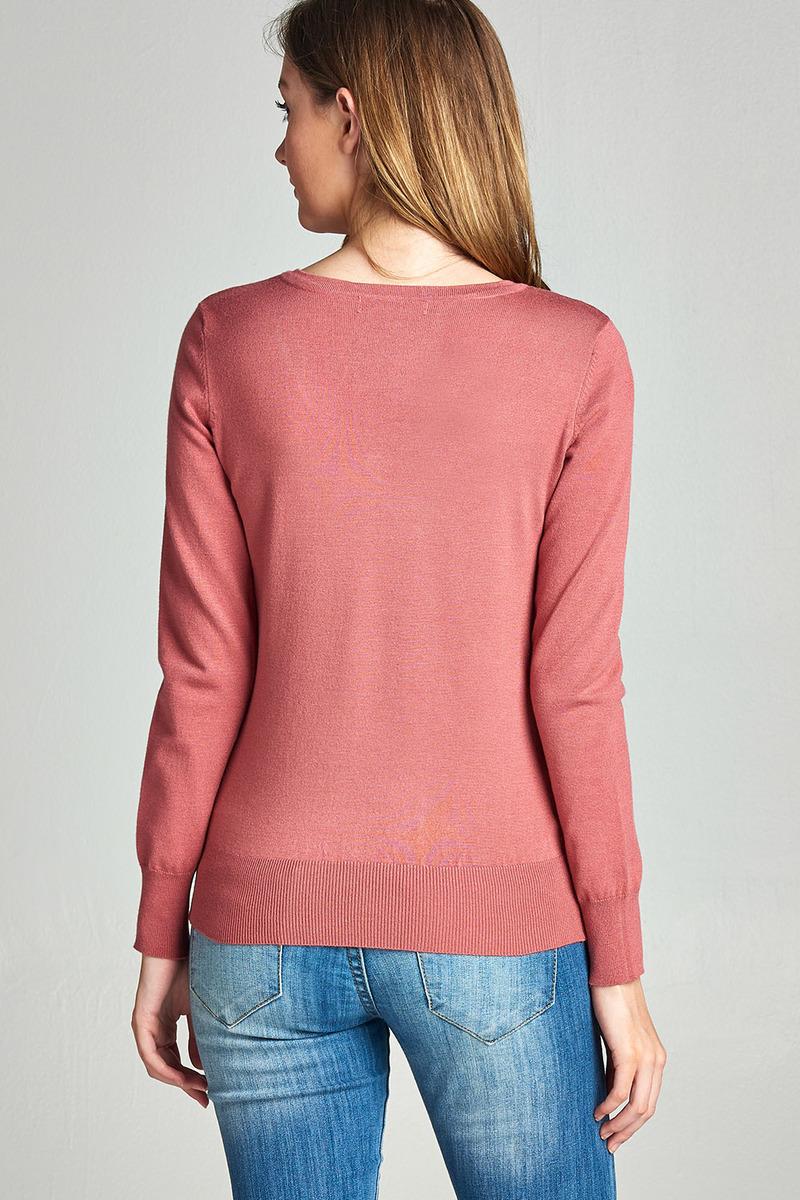 Women-amp-Juniors-Long-Sleeve-Classic-V-Neck-Pullover-Light-Knit-Sweater-Top