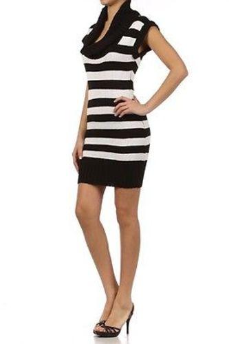 Juniors-Stripe-Cowl-Neck-Slim-Jumper-Knit-Mini-Dress-Tunic-Sweater-Comfy-Top thumbnail 55