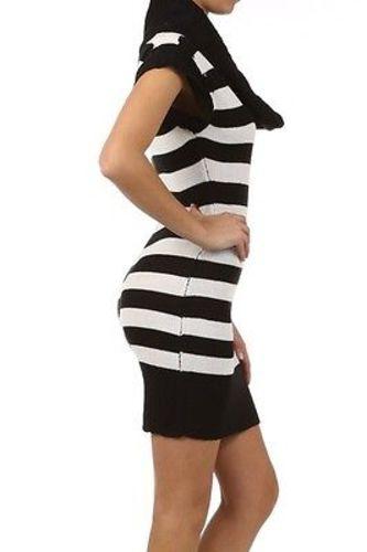 Juniors-Stripe-Cowl-Neck-Slim-Jumper-Knit-Mini-Dress-Tunic-Sweater-Comfy-Top thumbnail 56