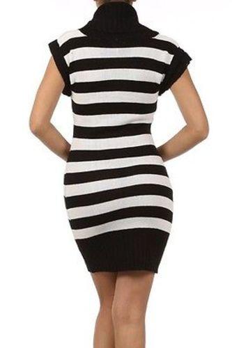 Juniors-Stripe-Cowl-Neck-Slim-Jumper-Knit-Mini-Dress-Tunic-Sweater-Comfy-Top thumbnail 64