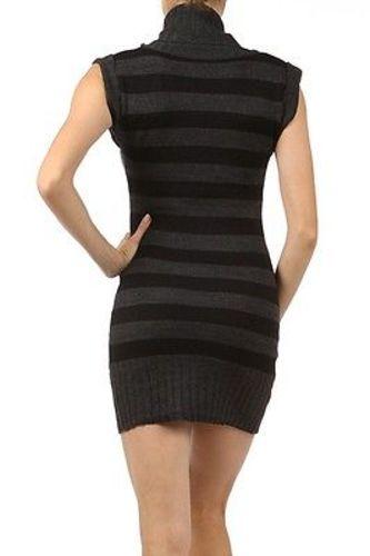 Juniors-Stripe-Cowl-Neck-Slim-Jumper-Knit-Mini-Dress-Tunic-Sweater-Comfy-Top thumbnail 47
