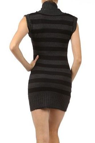 Juniors-Stripe-Cowl-Neck-Slim-Jumper-Knit-Mini-Dress-Tunic-Sweater-Comfy-Top thumbnail 52