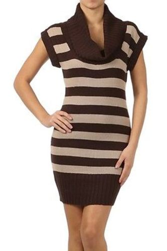 Juniors-Stripe-Cowl-Neck-Slim-Jumper-Knit-Mini-Dress-Tunic-Sweater-Comfy-Top thumbnail 39