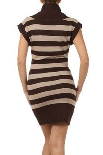 Juniors-Stripe-Cowl-Neck-Slim-Jumper-Knit-Mini-Dress-Tunic-Sweater-Comfy-Top thumbnail 30