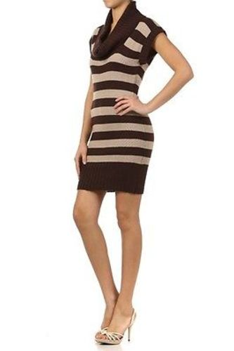 Juniors-Stripe-Cowl-Neck-Slim-Jumper-Knit-Mini-Dress-Tunic-Sweater-Comfy-Top thumbnail 36