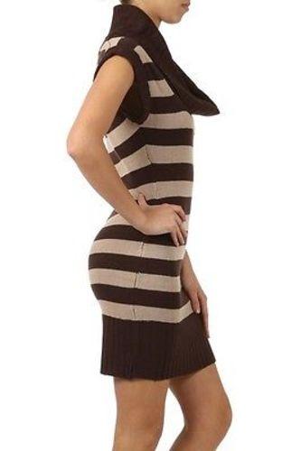 Juniors-Stripe-Cowl-Neck-Slim-Jumper-Knit-Mini-Dress-Tunic-Sweater-Comfy-Top thumbnail 37