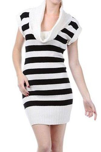 Juniors-Stripe-Cowl-Neck-Slim-Jumper-Knit-Mini-Dress-Tunic-Sweater-Comfy-Top thumbnail 15