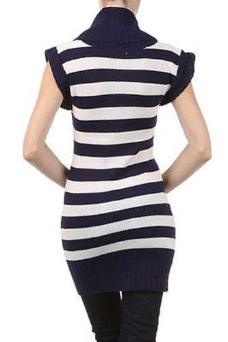 Juniors-Stripe-Cowl-Neck-Slim-Jumper-Knit-Mini-Dress-Tunic-Sweater-Comfy-Top thumbnail 23