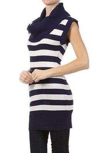 Juniors-Stripe-Cowl-Neck-Slim-Jumper-Knit-Mini-Dress-Tunic-Sweater-Comfy-Top thumbnail 19