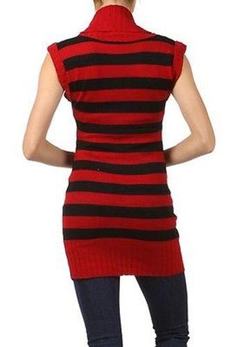Juniors-Stripe-Cowl-Neck-Slim-Jumper-Knit-Mini-Dress-Tunic-Sweater-Comfy-Top thumbnail 3