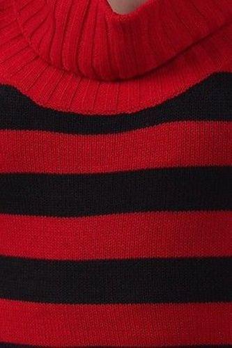 Juniors-Stripe-Cowl-Neck-Slim-Jumper-Knit-Mini-Dress-Tunic-Sweater-Comfy-Top thumbnail 6