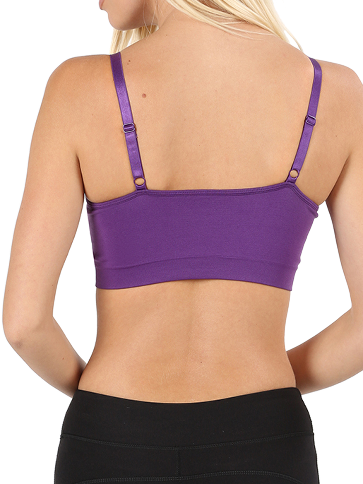 Women/'s Front V-Lattice Bralette with Adjustable Straps and Removable Bra Pads