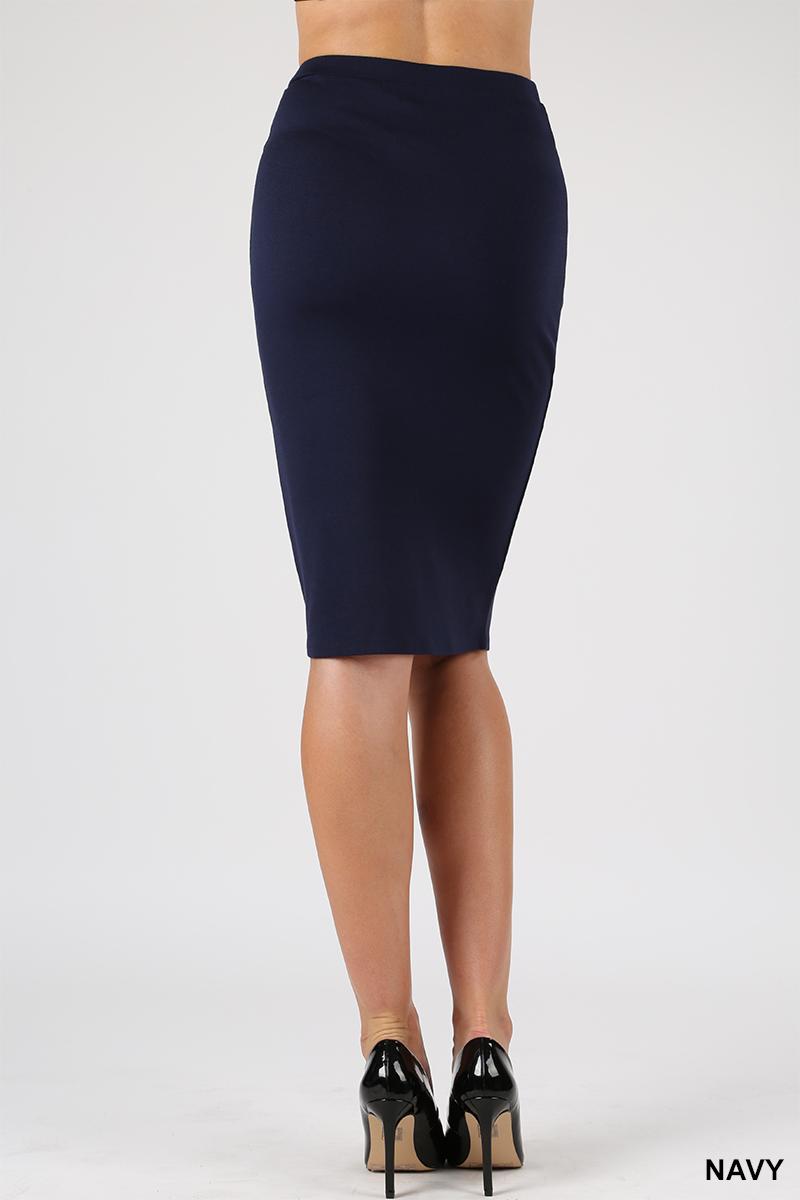 Women Knee Length Pencil Straight Office Midi Skirts