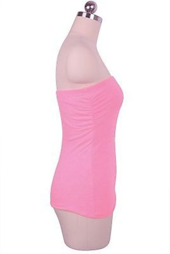 658a512035 Casual Solid Plain Strapless Sexy Tube Stretch Built in Bra Tunic ...